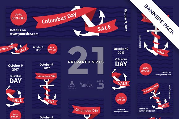Banners Pack Columbus Day