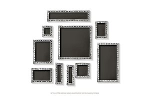 Silver vector frames cinema. Set