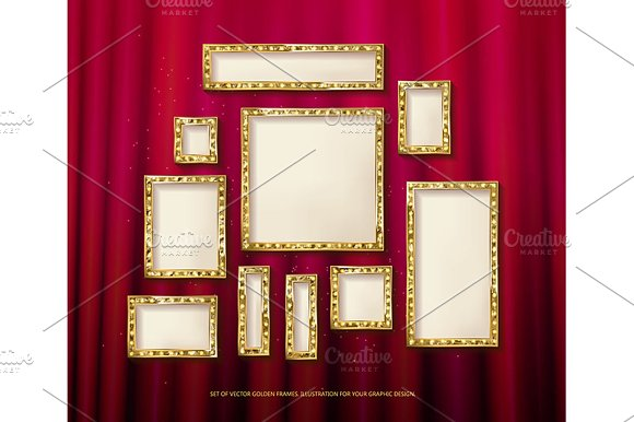 Gold Vector Frames Cinema Set