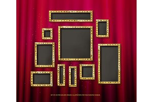 Gold vector frames cinema. Set