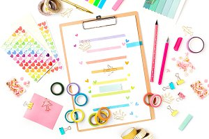 Weekly planner and school stationery