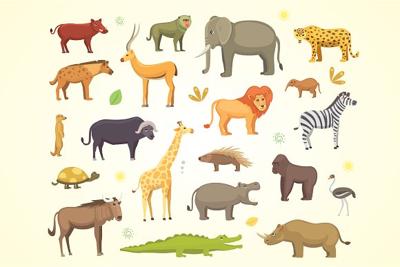 African Animals Cartoon Vector Set