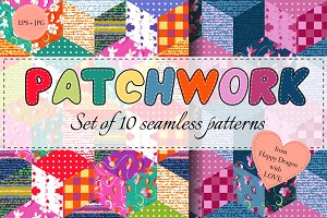 Collection of multicolor patchwork