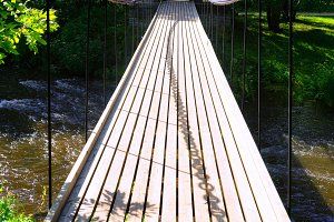 Suspended bridge across the river