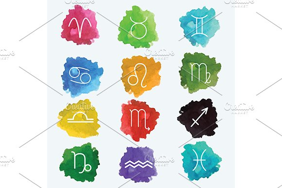 Zodiac Signs On Watercolor Splashes