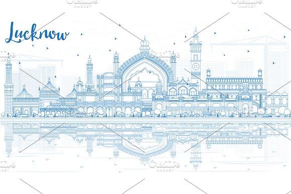 Outline Lucknow Skyline