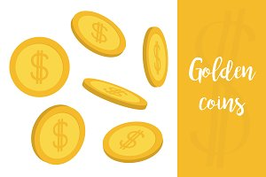 Golden coin 3D icon set