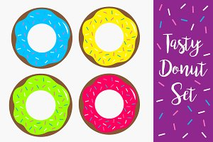 Donut chocolate glaze icon set