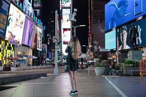 Girl lost in Time Square