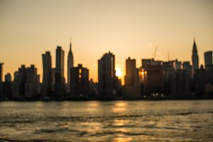 Blurred Manhattan during sunset