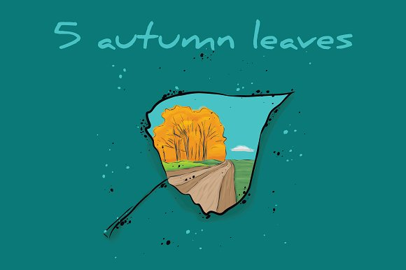 5 Autumn Leaves With A Landscape