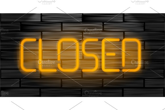 Closed Realistic Neon Inscription