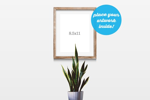 Wooden Frame Mockup On White Wall