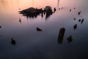 Broken pier view during sunrise
