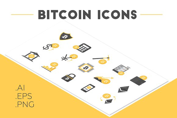 Bitcoin Cryptocurrency Icon Set