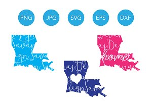 Louisiana SVG Cut File and Clipart