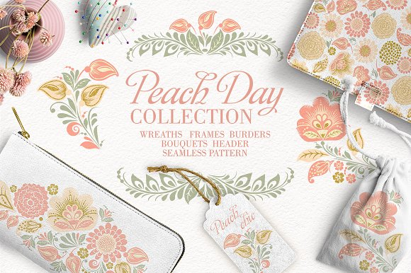 Peach Day Glitter Floral Collection