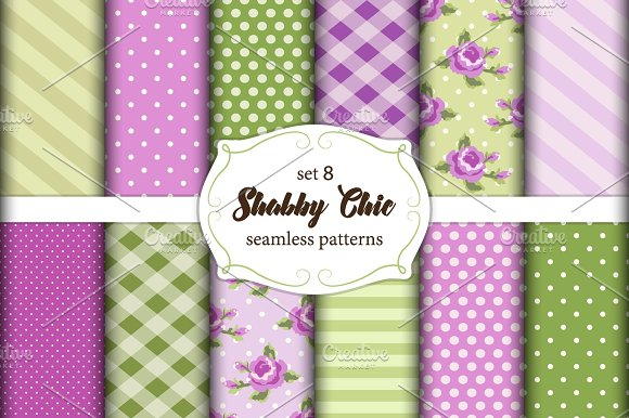Set Of 12 Cute Seamless Shabby Chic Patterns With Roses Polka Dots Stripes And Plaid