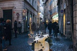 White motorbike in Italy