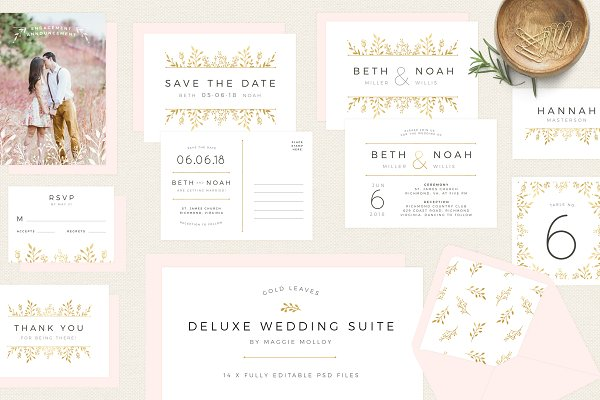 Invitation Templates: Maggie Molloy - Gold Floral Wedding Invitation Suite