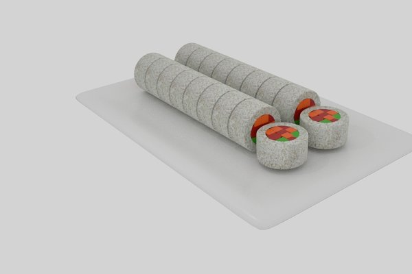 3D Food -  Rice Roll Sushi Sliced