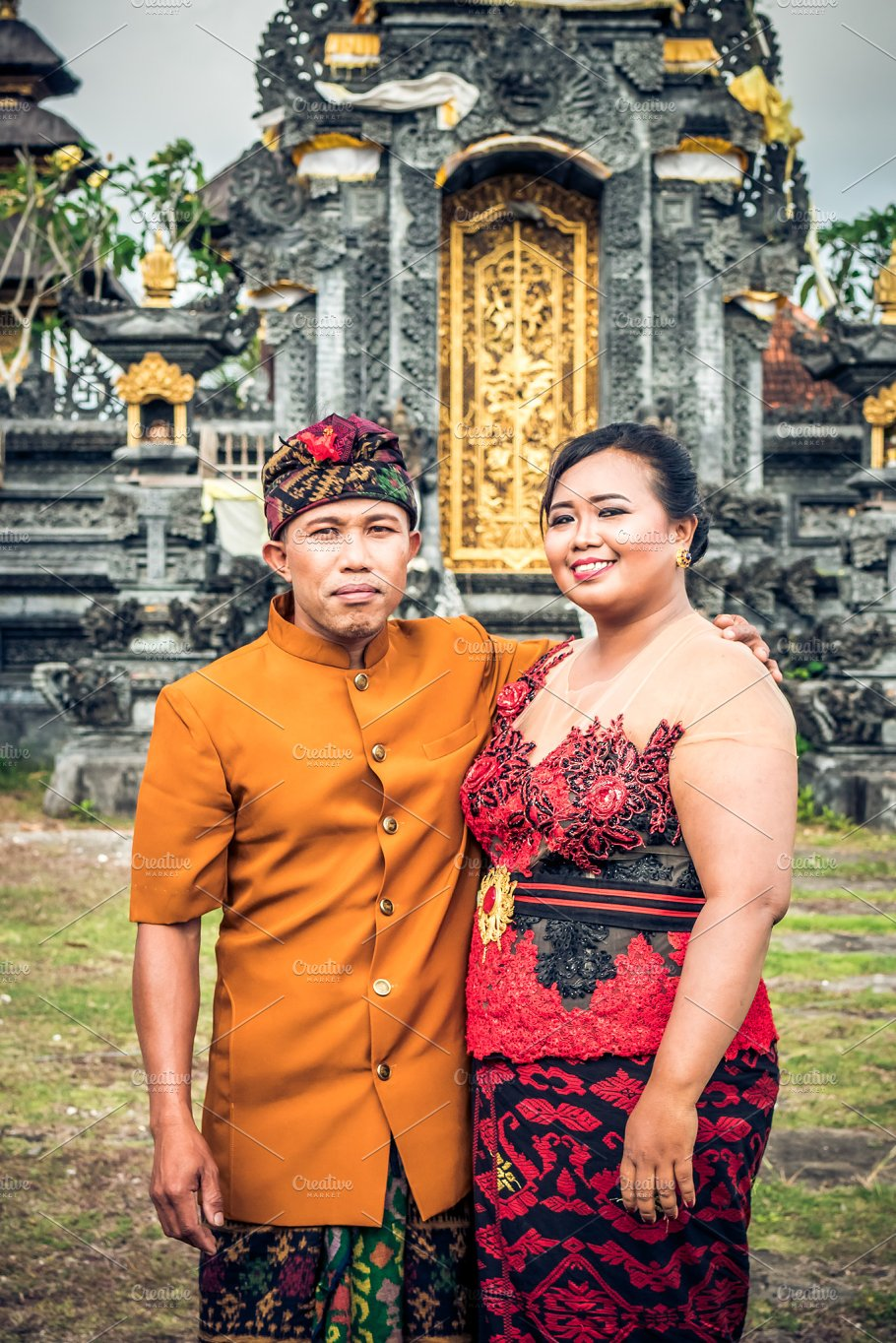 Lovely Honeymoon Balinese Couple In Traditional Clothes Together At Market The Temple Bali Island