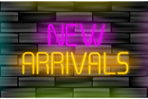 New arrivals neon inscription. Light sign on black brick wall background.