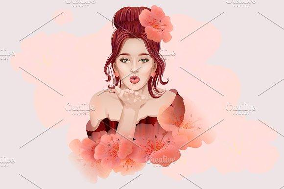 Beautiful Young Woman Air Kiss