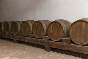 Old oak barrels lie in basement