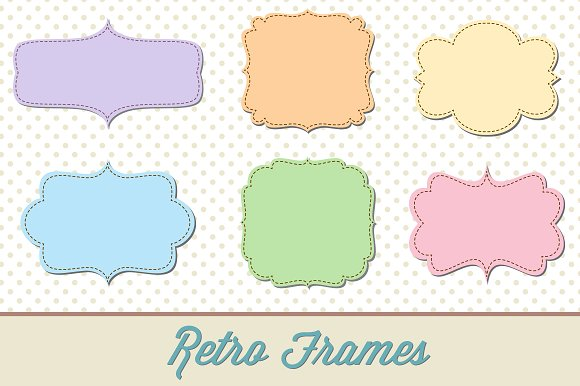 Retro Label Frames Shapes Set No. 29 - Shapes