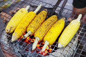 Charcoal grilled corn