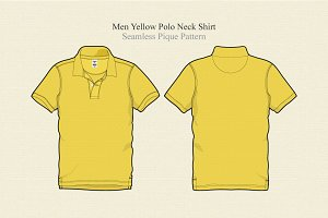 Men Yellow Polo Neck T-shirt Vector