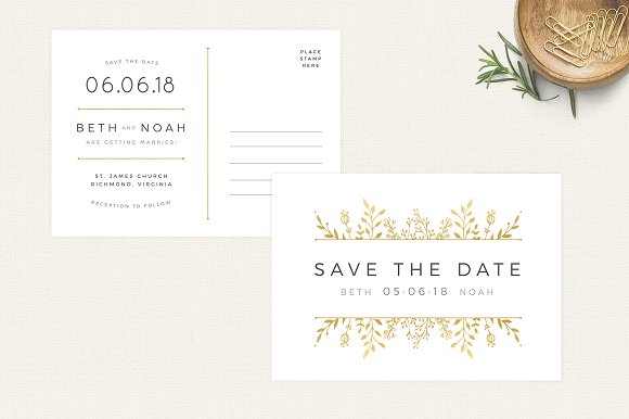 Gold Floral Save The Date Postcard