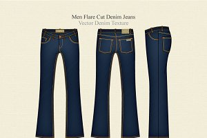 Men Flare Cut Denim Jeans Vector