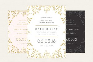 Gold Floral Bridal Shower Invitation