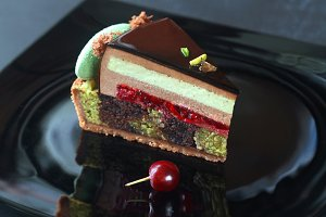 Chocolate, Cherry and Pistachio Cake