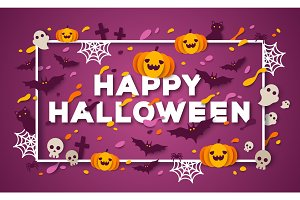 Halloween typography design with square frame