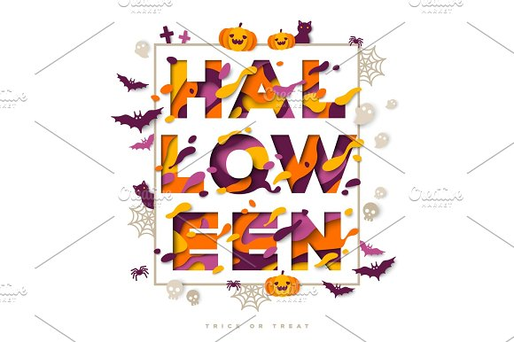 Halloween Typography Design With Icons In Frame