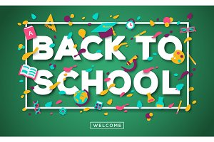 Back to school typography, school icons on green chalkboard