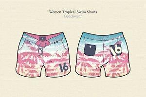Women Tropical Swim Shorts
