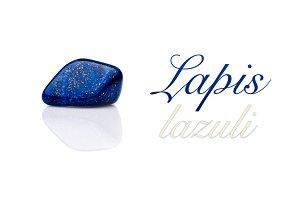 Beautiful blue lapis lazuli gem stone isolated text