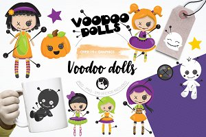 Voodoo dolls graphics, illustrations