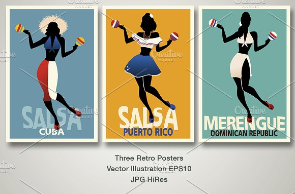 3 Retro Style Caribbean Posters