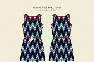 Women Nautical Frock Dress Vector
