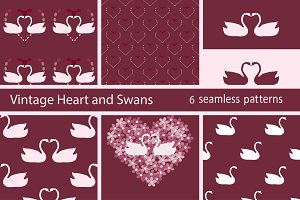 Set white swan love seamless pattern
