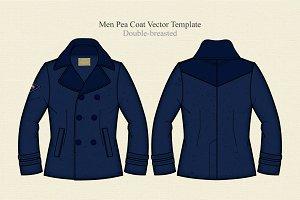 Men Pea Coat Vector Template