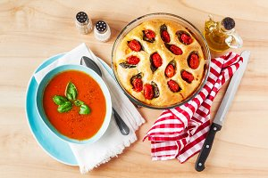 Tomato soup with italian focaccia
