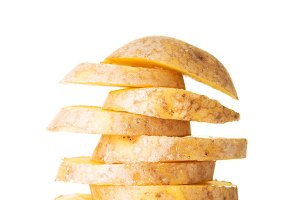 One sliced potatoe. Stack composition.