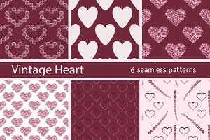 Set heart vintage seamless pattern