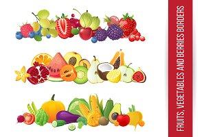 Fruits vegetables berries borders